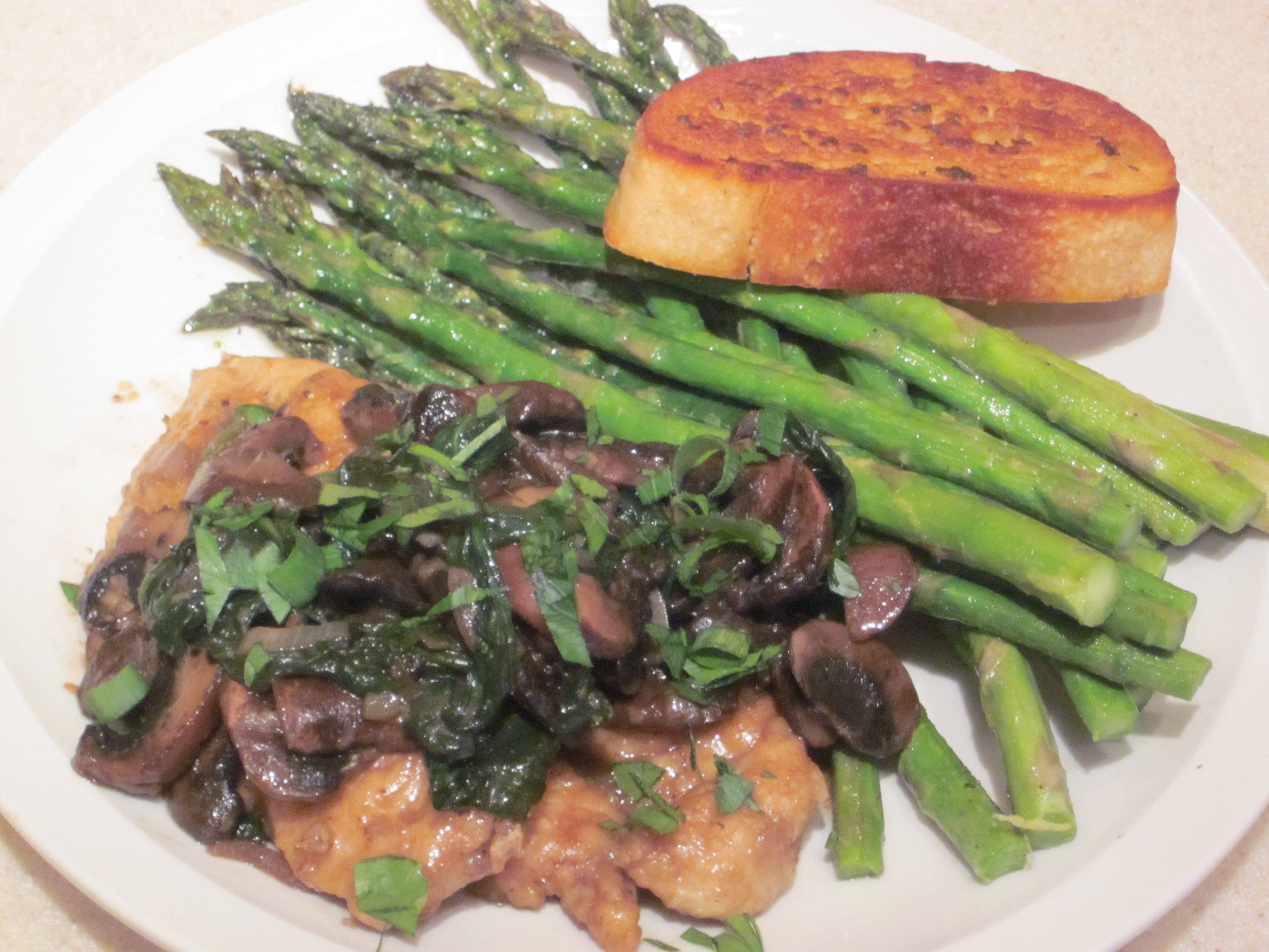 Chicken marsala with mushrooms and spinach over roasted lemon chicken marsala with mushrooms and spinach over roasted lemon asparagus forumfinder Choice Image