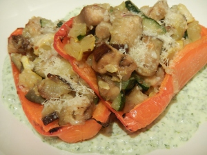 Ratatouille Stuffed Peppers With Parsley-Ricotta Sauce