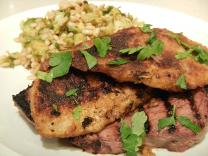 Surf-n-Turf With Warm Barley Salad
