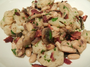 Tuscan Chicken, Cauliflower and Cannellini Bean Skillet