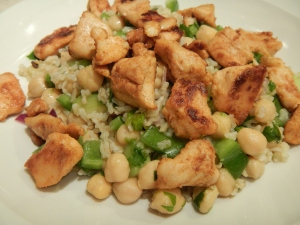 Cilantro-Lime Chickpea and Rice Salad With Chicken
