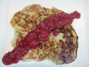 Banana Pancakes With Warm Raspberries