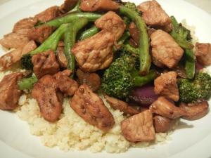 Pork and Veggie Stir Fry Over Cauliflower Rice
