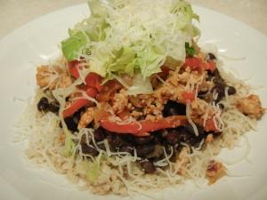Chipotle Inspired Turkey Fajita Rice Stack