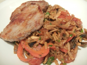 Pork Medallions Over Marsala Orzo