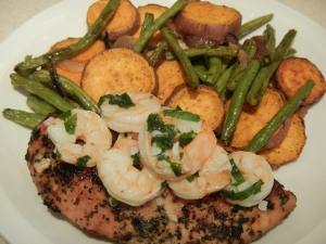 Sauteed Shrimp Over Grilled Chicken and Roasted Veggies