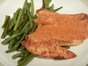 Broiled Tilapia with Tomato Cream Sauce and Caramelized Green Beans