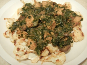 Chicken and Spinach Curry Over Roasted Cauliflower