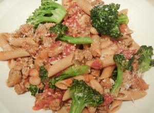 Whole Wheat Penne with Spicy Sausage and Broccoli