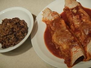 Chicken and Spinach Whole Wheat Enchiladas With Refried Black Beans