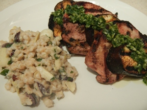 Grilled Pork and Eggplant Napoleon With Gremolata