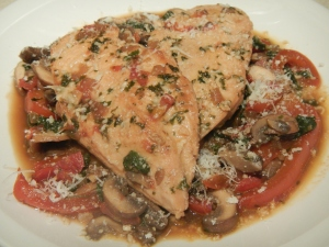 Sauteed Chicken in a Marsala-Beef Sauce With Mushrooms and Red Peppers