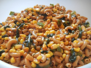 BBQ Macaroni Salad with Corn, Spinach and Scallions