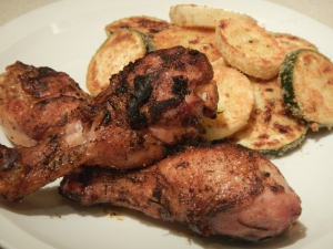Grilled Marinated Chicken Drumsticks With Zucchini and Squash Parmesan Crisps