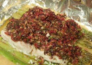 Olive-Crusted Cod with Asparagus in Foil Packets