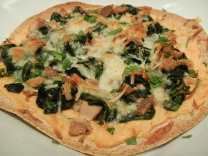 Spinach and Turkey Tortilla Pizza with Sweet Potato Sauce