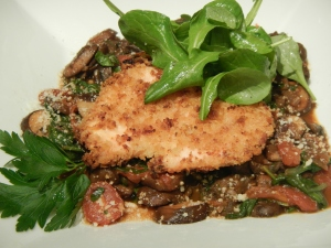 Baked Chicken Milanese With a Mushroom, Spinach and Sherried Tomato Ragu