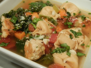 Meatball, Kale and Tortellini Soup With Homemade Veggie Stock