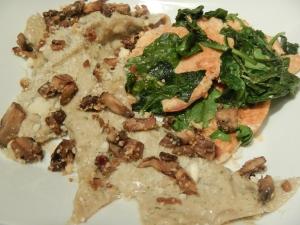 Mushroom Wonton Ravioli With a Pesto-Bechamel Sauce