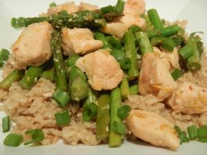 Orange Chicken with Asparagus and Brown Rice