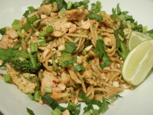 Peanutty Chicken and Broccoli Pad Thai
