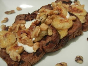 Purple Wheat Raisin Bread French Toast With Yogurt, Caramelized Bananas and Nuts