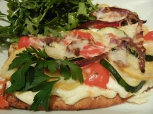 Roasted Veggie Naan Pizza with Lemon-Ricotta Sauce
