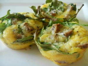 Sausage and Arugula Frittata Cups