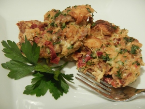 Savory Bread Pudding with Spicy Sausage, Gouda, and Sun-Dried Tomato