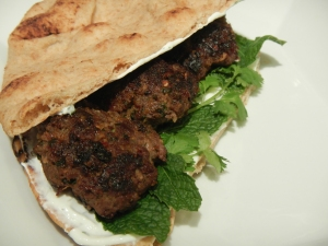 Spiced Beef Patties with Whole Grain Naan and Yogurt Sauce