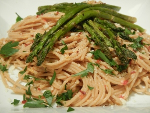 Spicy, Lemony Spaghetti With Roasted Garlic Asparagus