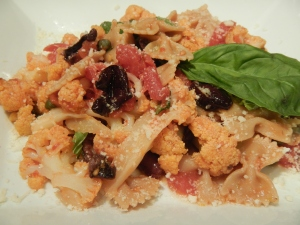 Braised Cauliflower And Tomatoes With Farfalle