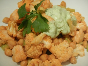 Buffalo Salad with Roasted Cauliflower, Chickpeas and Chicken