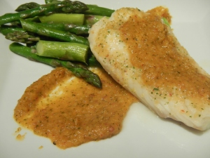 Chipotle-Mango Sauce With Cod And Asparagus