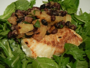 Cod With Roasted Pineapple-Black Bean Salsa