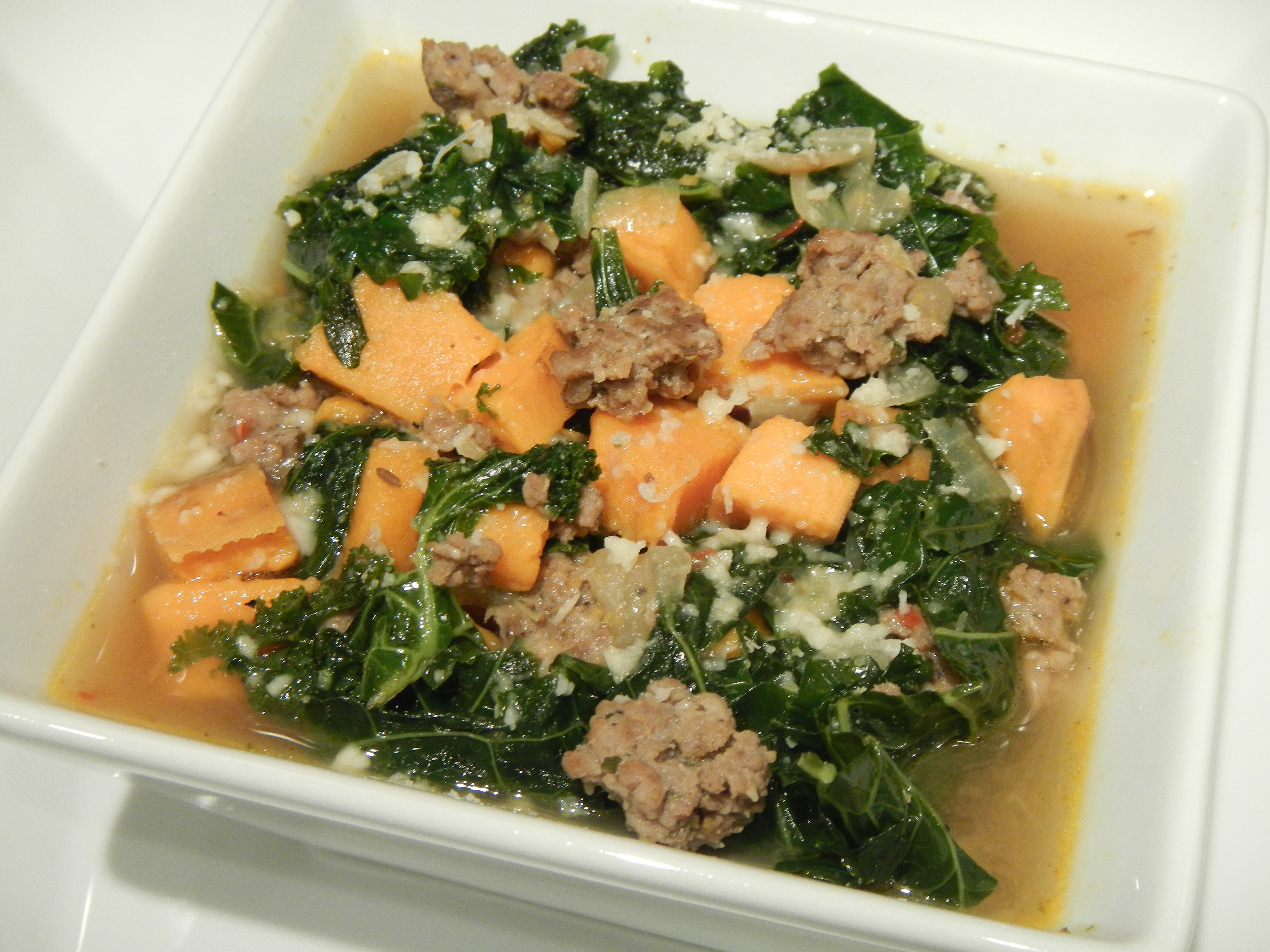 Sweet Potato-Spicy Turkey Sausage Soup With Kale