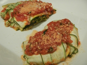 "Zucchini ""Ravioli"" or ""Lasagna"" With Turkey and Kale Filling"