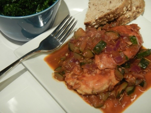 Chicken and Tuscan Zucchini Sauce With Lemon Kale Salad