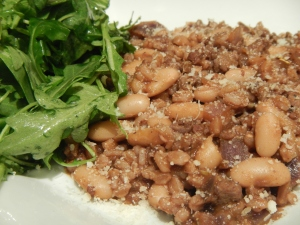 Farro, Beans and Spicy Sausage Simmered in Red Wine
