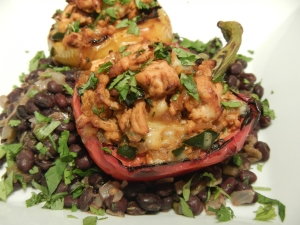 Fiesta Chicken Stuffed Bell Peppers and Black Beans