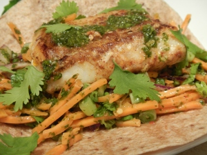 Fish Tacos with Carrot and Cilantro Chimichurri Slaw