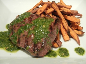 Marinated Petite Sirloin With Cilantro Chimichurri and Baked Sweet Potato Fries