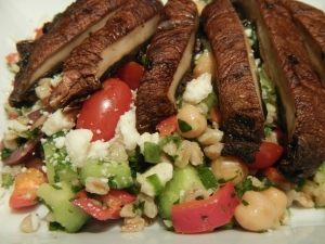 Tabbouleh Salad With Farro and Grilled Portobello Mushrooms