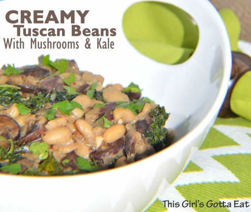 Creamy Tuscan Beans With Mushrooms and Kale