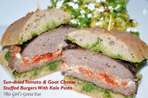 Sun-dried Tomato and Goat Cheese Stuffed Burgers With Kale Pesto