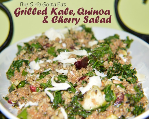 Grilled Kale, Quinoa and Cherry Salad