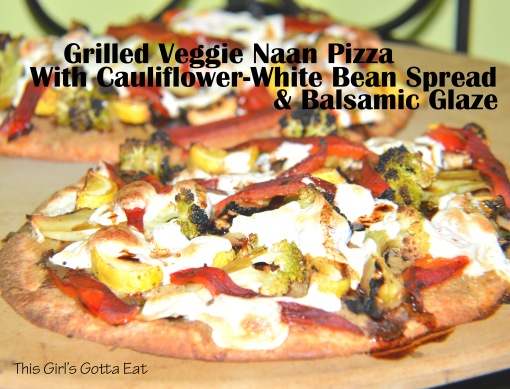 Grilled Veggie Naan Pizza With Cauliflower-White Bean Spread and Balsamic Glaze
