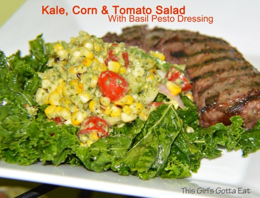 Kale, Corn and Tomato Salad With Basil Pesto Dressing