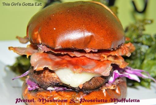 Pretzel, Mushroom and Prosciutto Muffuletta