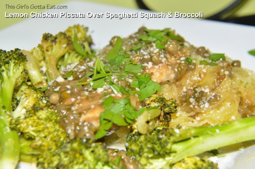 Lemon Chicken Piccata Over Spaghetti Squash and Broccoli